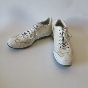 PRADA WHITE/CREAM LACE UP SNEAKERS SIZE 39/US 8.5